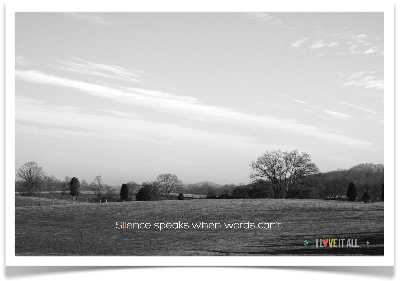 #silence #quote #mountains #blackandwhite #trees #sky
