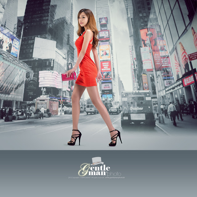 2 Seo Jin Ah in Orange Mini Dress -Very cute asian girl - girlcute4u.blogspot.com