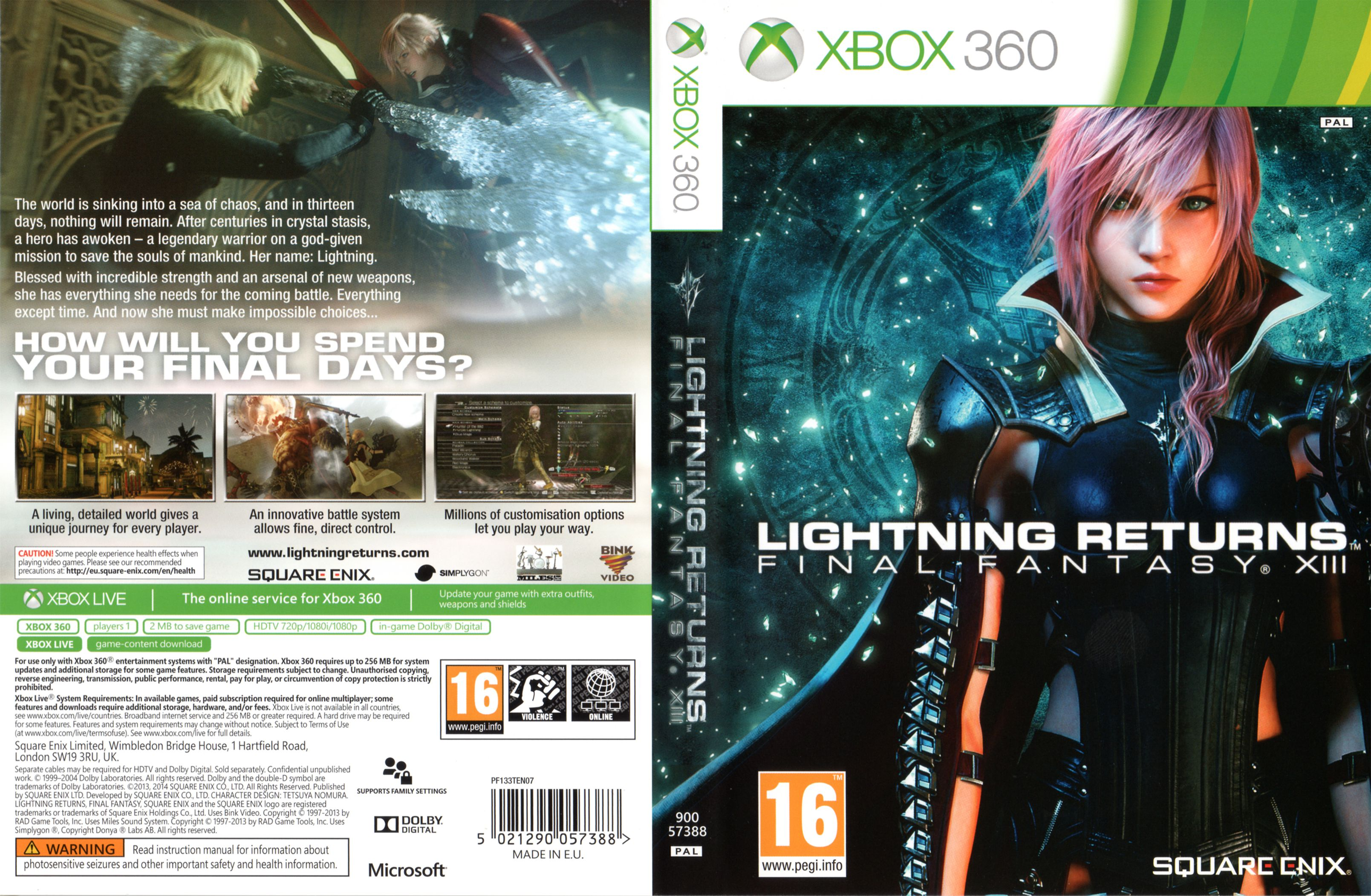 Capa Lightning Returns Final Fantasy XIII Xbox 360