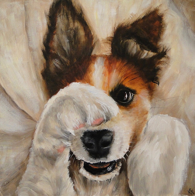 oil painting of a puppy playing peek-a-boo