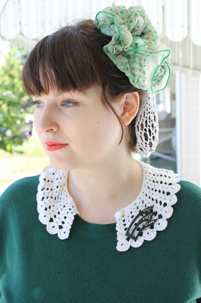 white crochet snood, 1940s style knit blouse with crochet collar