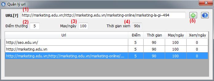 Quản lý URL Auto Hit trong phần mềm SEO Master