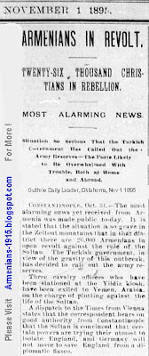 Armenians -26000 Christians- In Revolt -Guthrie Daily Leader, Oklahoma, Nov, 1 1895