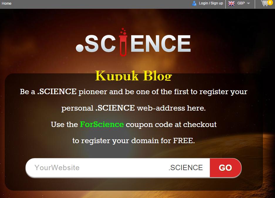 Cara Terbaru Mendapat Domain .science Gratis
