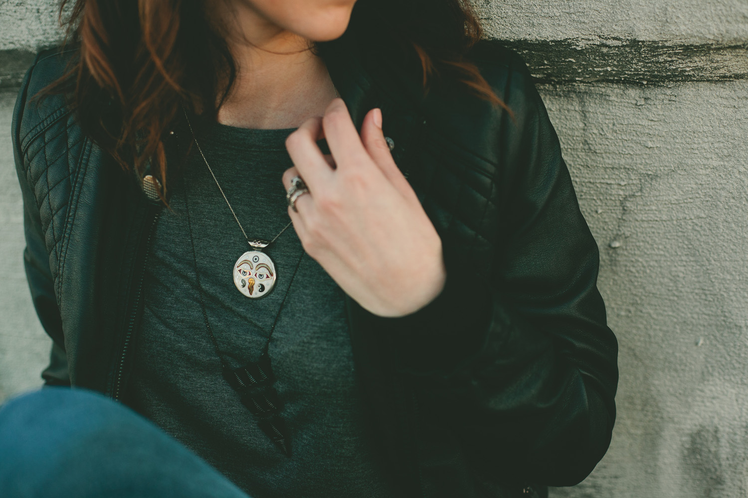 Moto Jacket and stacked necklaces