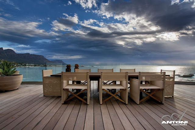 Picture of wooden dining table on the terrace