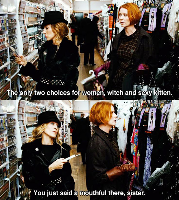 SATC quotes, sexy kitten and witch SATC, chic halloween looks