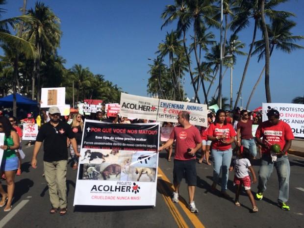 Manifestantes pediram o fim da crueldade contra os animais (Foto: Carolina Sanches/G1)