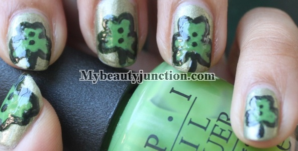St Patrick's Day green shamrock nail art with China Glaze OMG It's A UFO polish and O.P.I. Greenwich Village