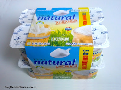 Yogur natural azucarado HACENDADO de Mercadona.