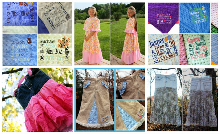 Adorable personalized keepsake blankets, stylish & modest custom made jean skirts, and more!!!