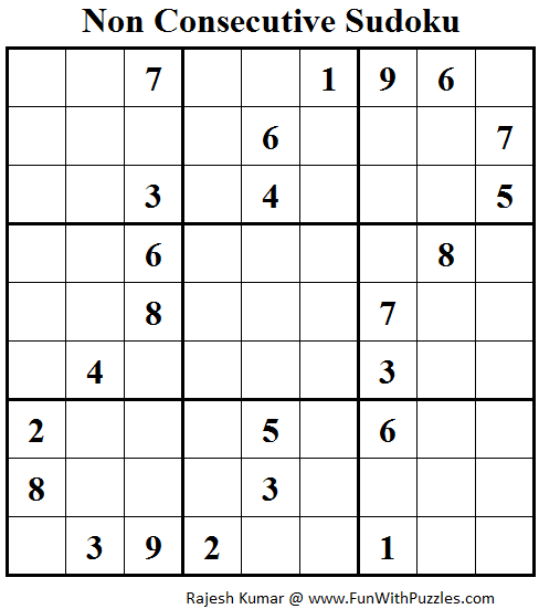 Non Consecutive Sudoku (Fun With Sudoku #57)