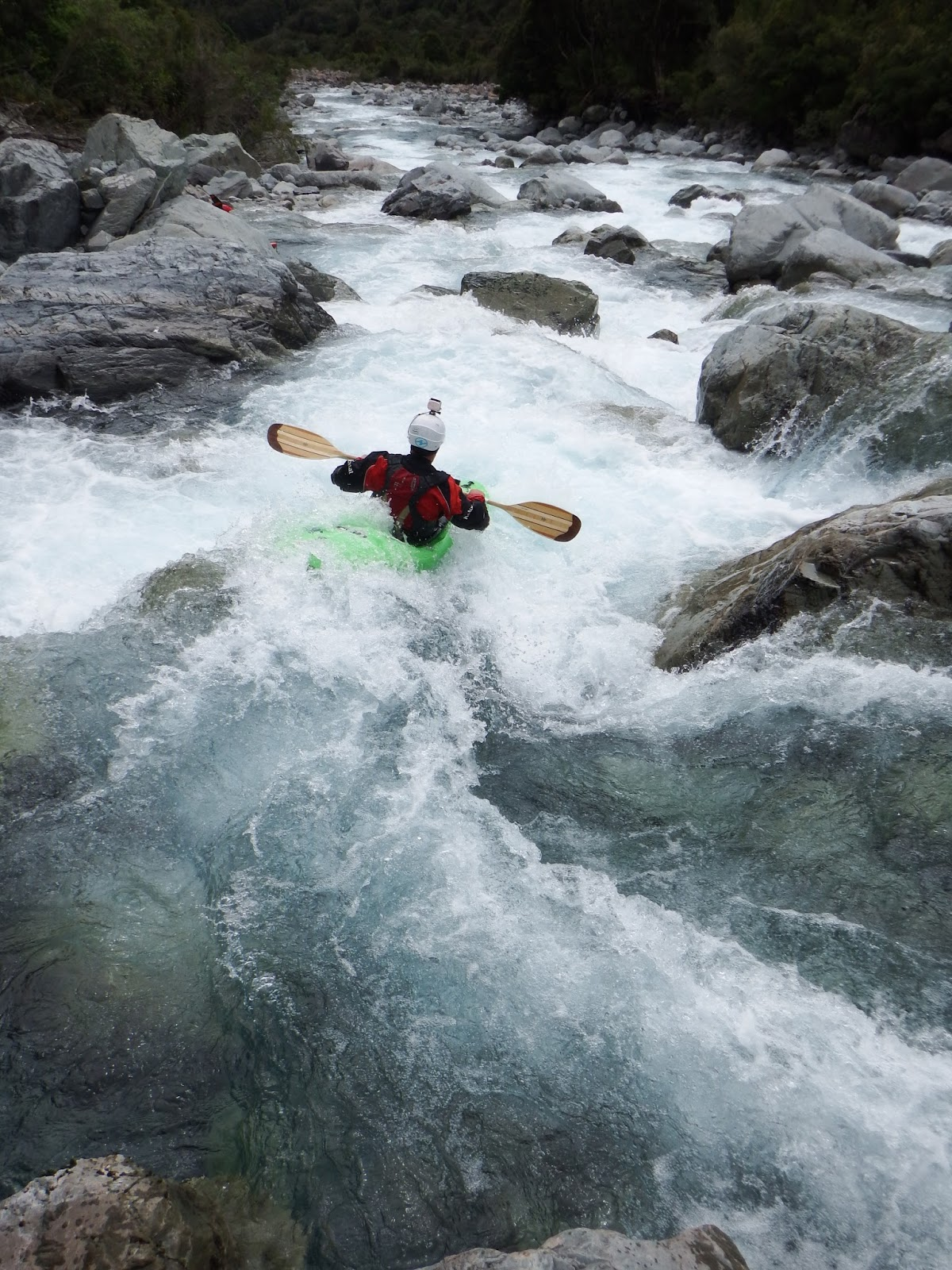 Chris Baer, making his way down stream on the Taipo, New Zealand, kayaking