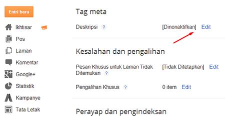 Meta tag deskripsi blogger