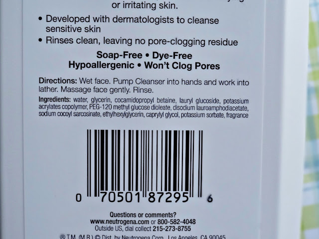 Neutrogena's Ultra Gentle Daily Cleanser Ingredients
