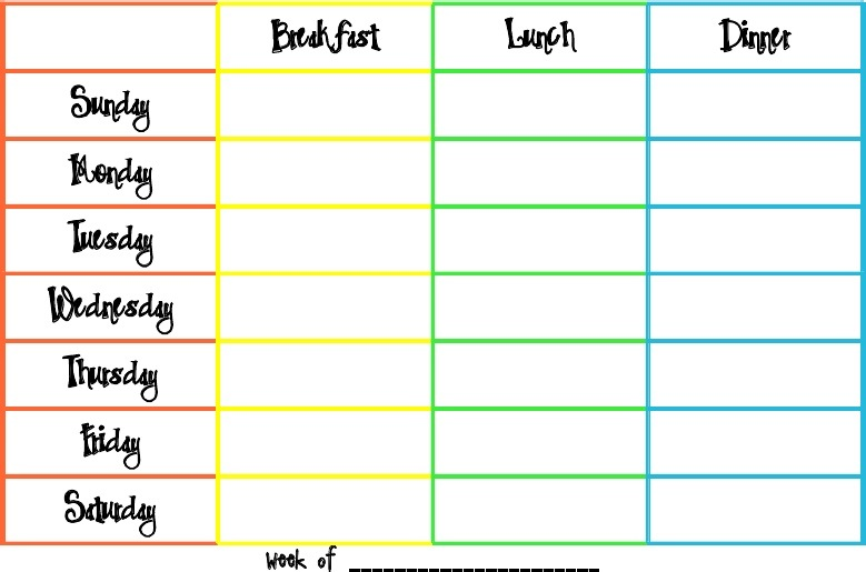 Tennessee honey june 39 s yum yums with free printable for Camping menu planner template