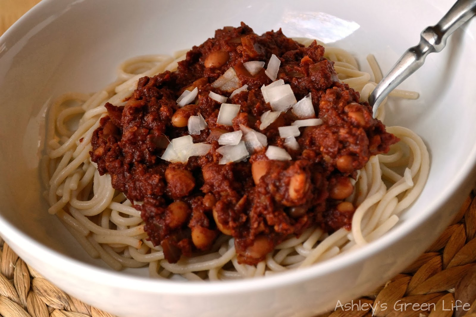 "Cincinnati Chili"" with pinto beans, tempeh (instead of TVP)"