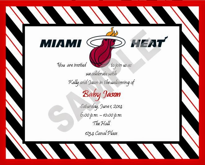 Solutionsevent design by kelly miami heat theme baby shower miami heat theme baby shower invitations filmwisefo