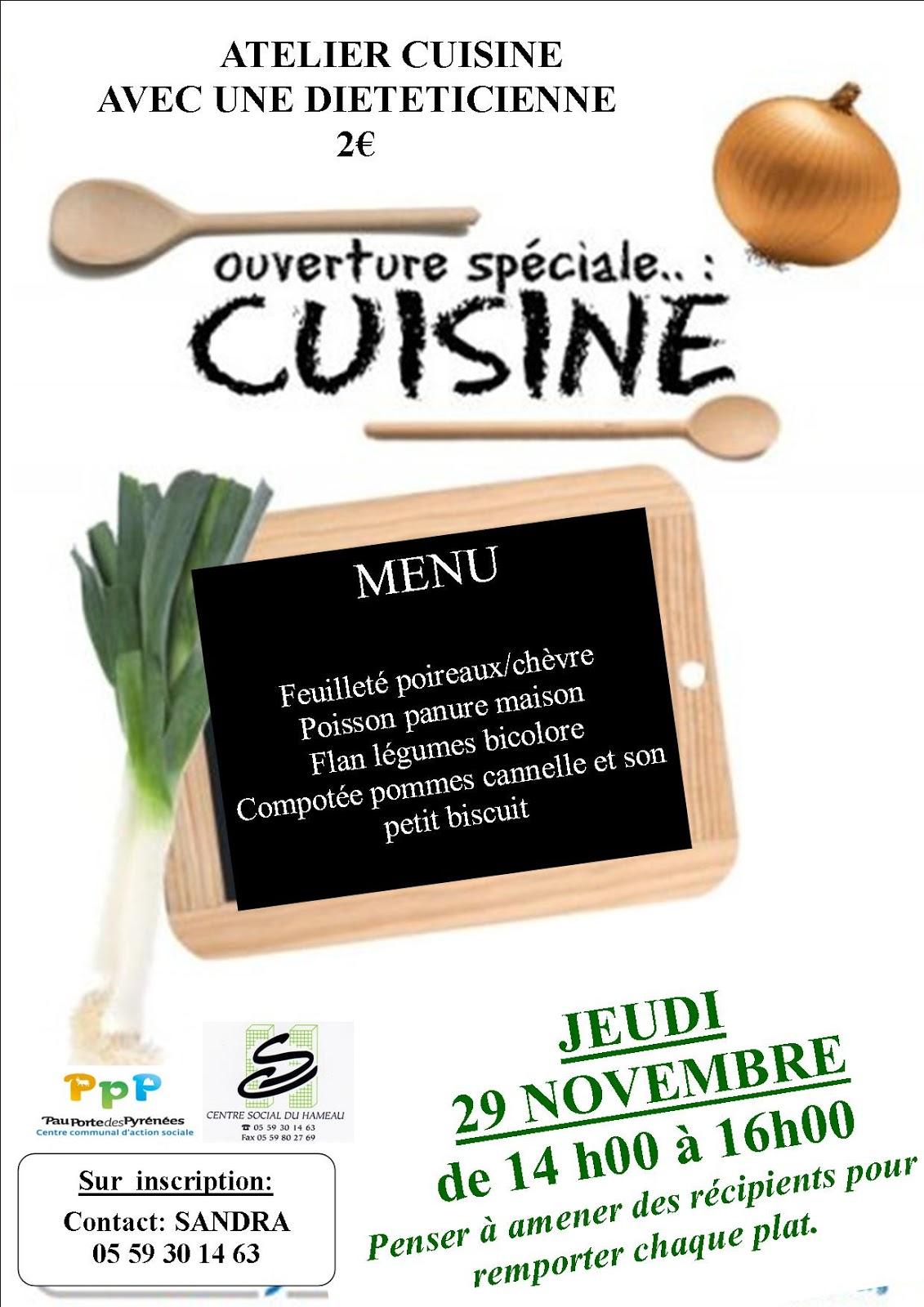 Centre social du hameau pau novembre 2012 for Affiche pour cuisine
