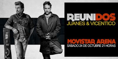 Juanes y Vicentico en Chile 2015 entradas primera fila hasta adelante gratis no agotadas