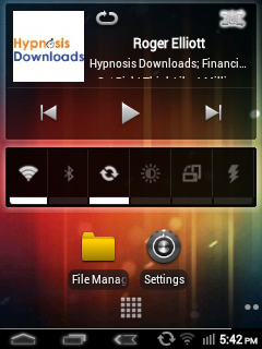 Modified HomeScreen with widgets and ICS wallpaper.