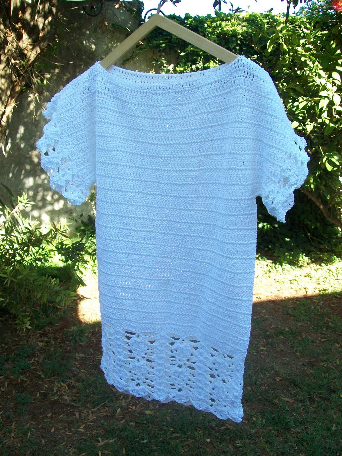 Decoracion De Baños Tejidos A Crochet:Abuela Cata Tejido de Diseño: Remerón blanco tejido al crochet con