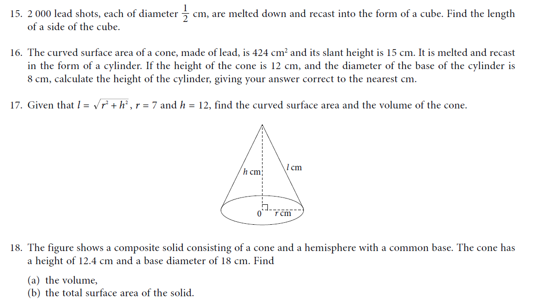 mathematics volume and surface area