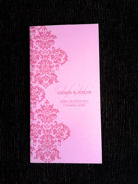 Pink Damask Wedding Invitation Card, Yasmin & Hakim, yasmin, hakim, wedding invitation cards, malay wedding cards, pink damask card, pink card, invitation card, wedding