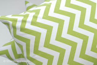 Throw pillows in chevron print, made from cotton duck fabric