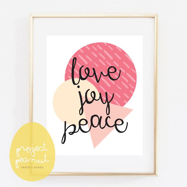 Love Joy Peace Printable Wall Art Nursery Poster   projectpeanut.com.au