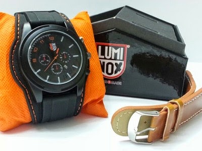 Jam Tangan New Luminox Set 2 tali kulit dan karet orange