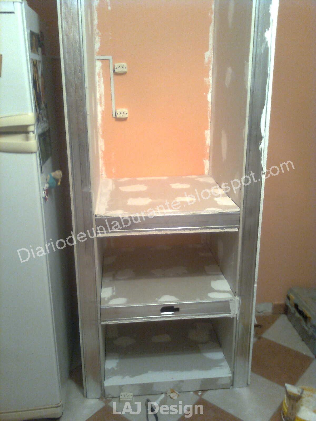 Diario de un laburante mueble durlock en la cocina parte 1 - Estante para microondas ...