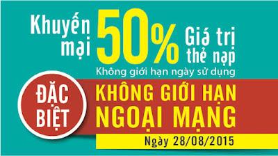 Viettel khuyến mãi 50% giá trị thẻ nạp ngày 28/8