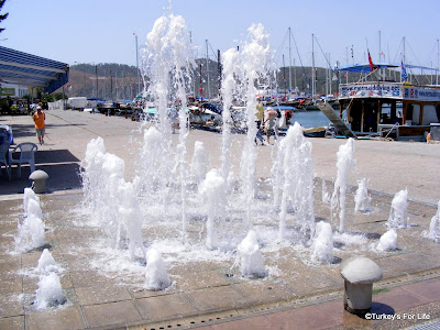Fethiye marina water fountains