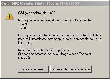código de asistencia 1682 en impresoras canon