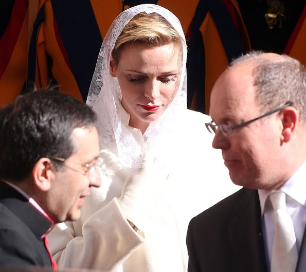 Princess Charlene of Monaco and Prince Albert II of Monaco arrives at the Apostolic Palace