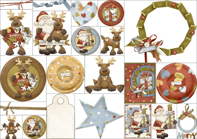 Clipart Ayudando a Santa Claus.