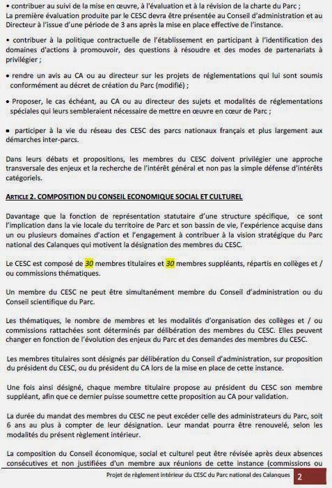 Parc national des calanques reglement interieur du - Conseil national des parcs et jardins ...