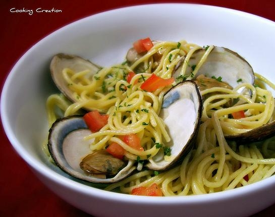 Cooking Creation Steamed Clams Pasta In White Wine Garlic Sauce