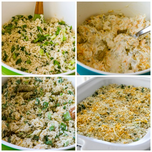 Spicy Slow Cooker Rice Casserole with Green Chiles, Green Onions, and Cheese [found on KalynsKitchen.com]