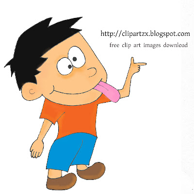 Cartoon Boy sticking his tongue out free clip art download