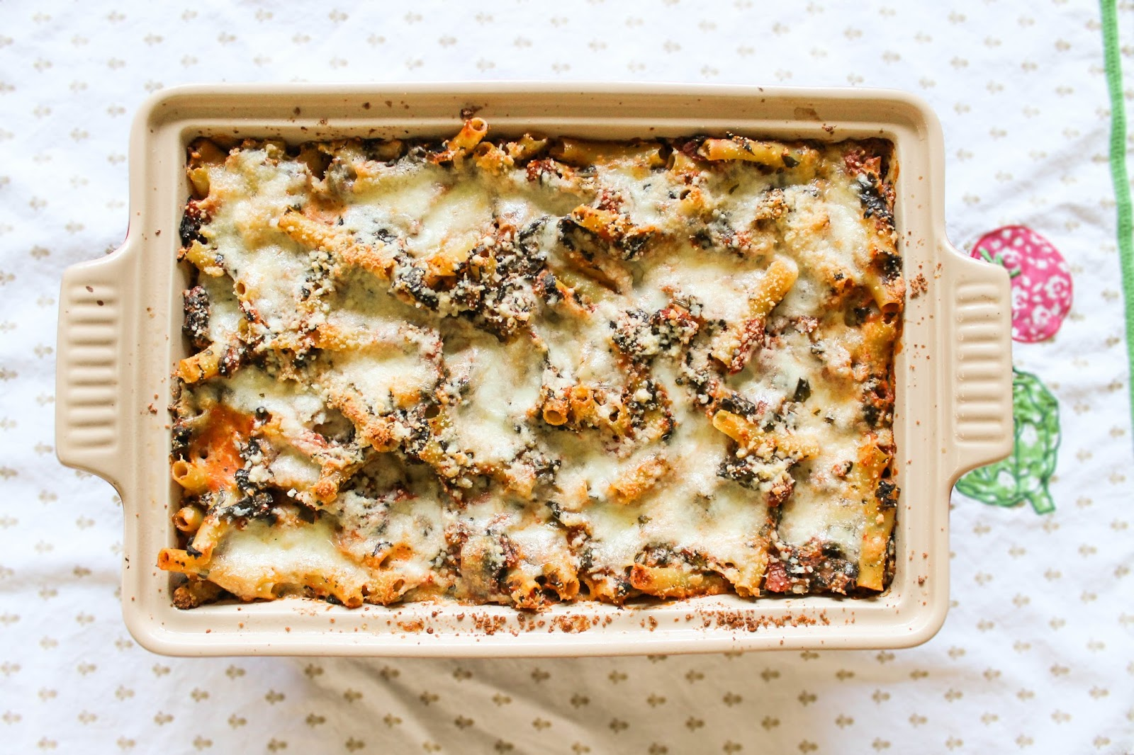 The Quixotic Table: Three Cheese Baked Ziti with Spinach