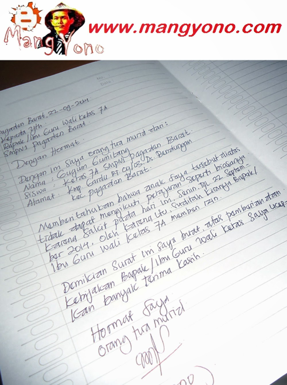 Surat untuk ke sekolah SMPN 1 Pagaden Barat.