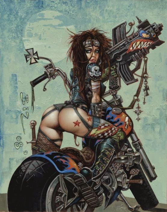 Dessin de Simon Bisley représentant une guerrière sexy cyberpunk sur un chopper