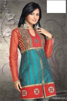 Party Wear Kurtis - Red & Blue Designer Wear Kurtis for Women