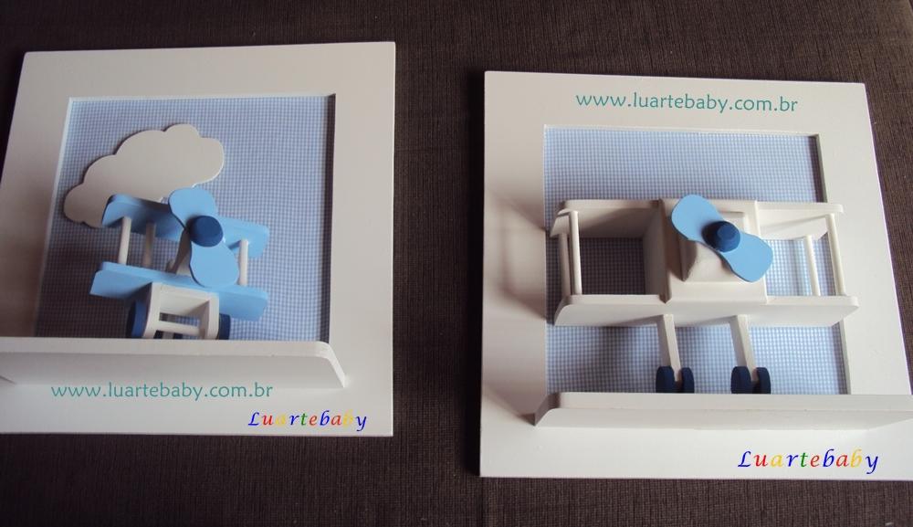 Luartebaby Artesanato Quadro para quarto de bebe com avião Luartebaby