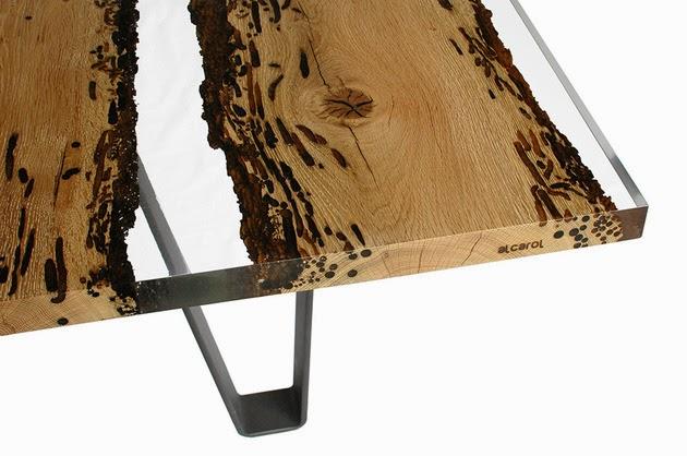 Ingeniosa mesa de madera y resina quiero m s dise o - Mesas de tablones de madera ...