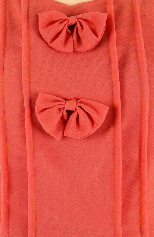 Blood Orange Dainty Lil Bow Blouse with Short Sleeves
