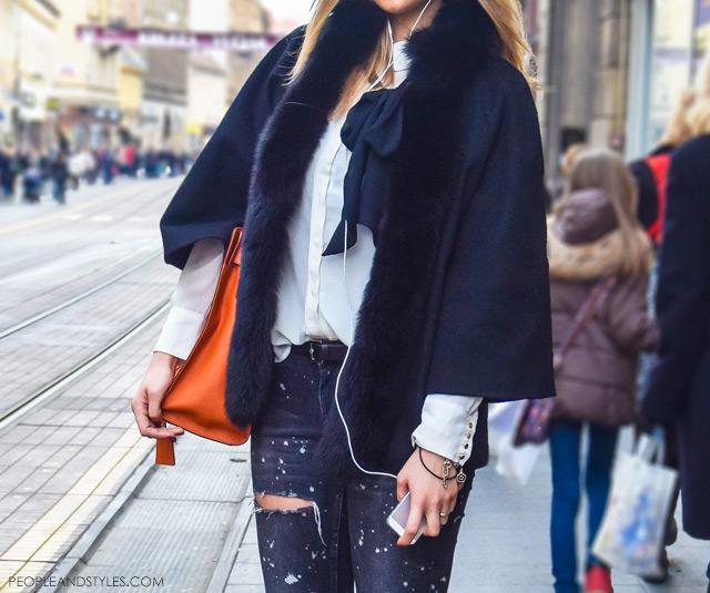 distressed jeans winter. Style idea how to wear your distressed jeans in winter months, Zagreačka zimska špica i stajling inspiracije