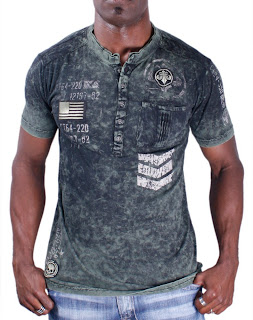 Collar shirts for men affliction henley t shirt collar for Mens collared henley shirt